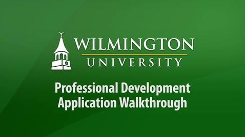 Thumbnail for entry Professional Development Application Walkthrough