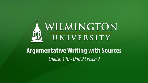 Thumbnail for entry English 110: Unit 2 Lesson 2 Peer Review of Summary-Response Writing