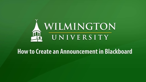 How to Create an Announcement in Blackboard