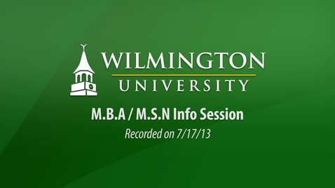 Thumbnail for entry MBA MSM Info Session 7-17-13