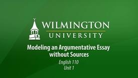 Thumbnail for entry English 110: Unit 1, Lesson 2 Modeling of Argumentative Writing