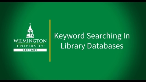 Thumbnail for entry Keyword Searching in Library Databases