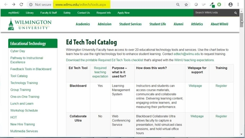 Thumbnail for entry Summary of how to use the Ed Tech Tool Catalog webpage and how the tools align with the WU teaching expectations