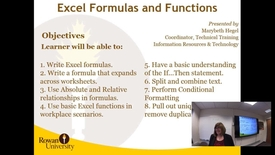 Thumbnail for entry Excel Formulas and Functions