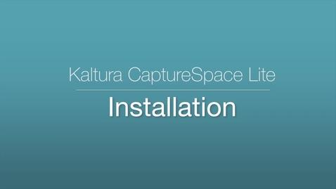 CaptureSpace Lite - Installation