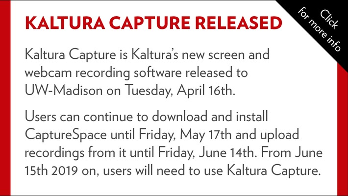 Kaltura Capture released to campus on Tuesday, April 16th
