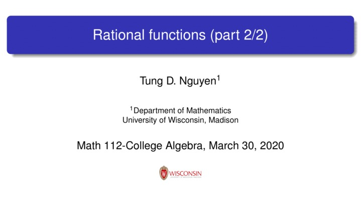 Thumbnail for channel Math 112 Spring 2020
