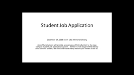 Thumbnail for entry UW Student Job Application Website Presentation