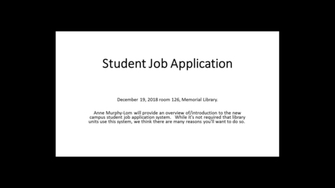 Thumbnail for entry UW Student Job Application Website Presentation
