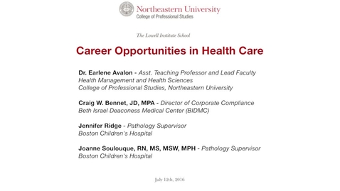 Thumbnail for entry Career Conversations - Career Opportunities in Health Care