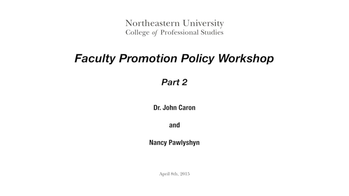 Thumbnail for channel 2015 - Faculty Promotion Workshop