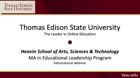 Thumbnail for entry Master of Arts in Educational Leadership (MAEDL) Presentation