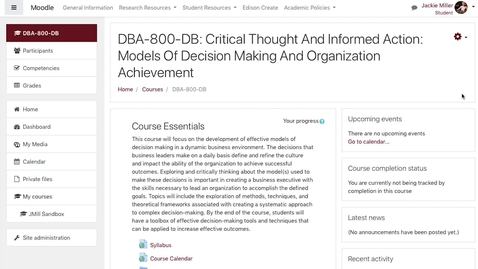 Thumbnail for entry Navigating Your DBA Course in Moodle