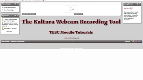Kaltura Webcam Recording Tool - Video Tutorial