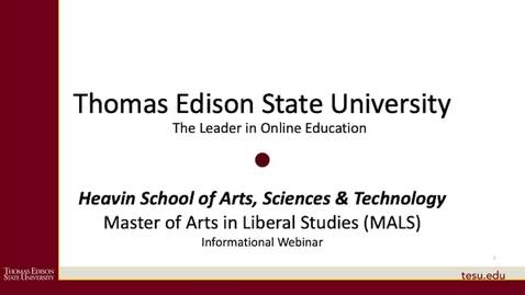 Thumbnail for entry Master of Arts in Liberal Studies (MALS) Presentation