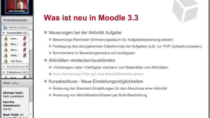 Aufzeichnung 20' Webinar: Moodle 3.3 - Was ist neu 20.02.2018