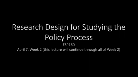 ESP150 Lecture Tuesday, April 7 Screen View