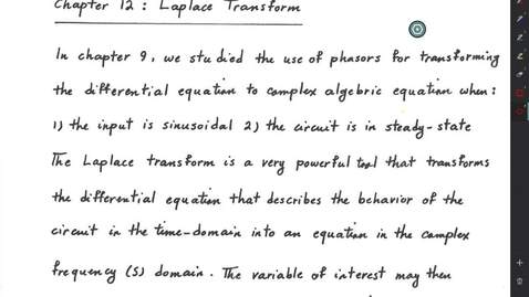 Thumbnail for entry Laplace Transform (Part 1)