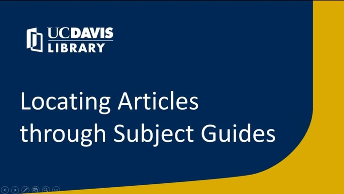 Locating Articles through Subject Guides