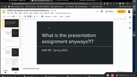 Thumbnail for entry ESM195_Spring2020_PresentationAssignmentGuidance