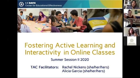Thumbnail for entry CEE Graduate Student Workshop - Fostering Active Learning and Interactivity in Online Classes