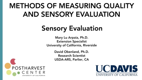 Thumbnail for entry Quality Demonstration - Sensory Evaluation