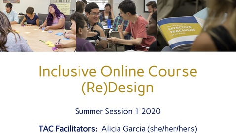 Thumbnail for entry CEE Graduate Student Workshop - Inclusive Online Course (Re)Design
