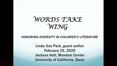 Thumbnail for entry 2020 Words Take Wings - Linda Sue Park - Feb 25 2020_new