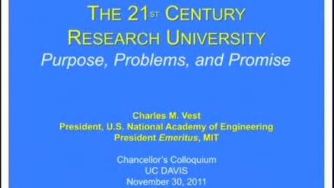 Thumbnail for entry Chancellor's Colloquium - Charles M.Vest 11-30-2011