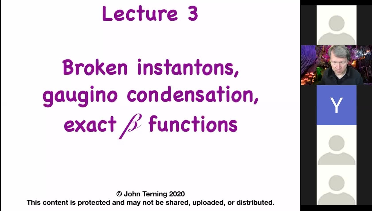 Advanced Supersymmetry: Lecture 3