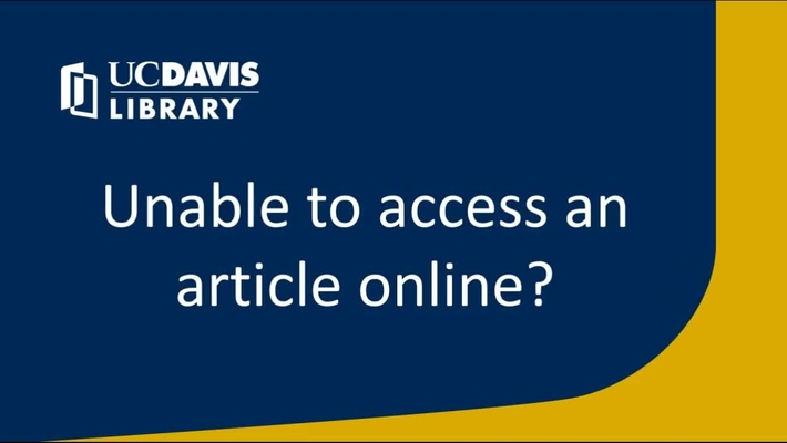 Having trouble accessing an article? The library can help!