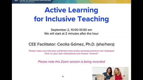 Thumbnail for entry CEE Faculty Workshop - Active Learning for Inclusive Teaching