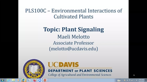 Thumbnail for entry Lecture: Topic 4 – Plant Signaling (Wednesday, April 22nd)