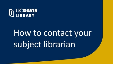 Thumbnail for entry How to contact your subject librarian