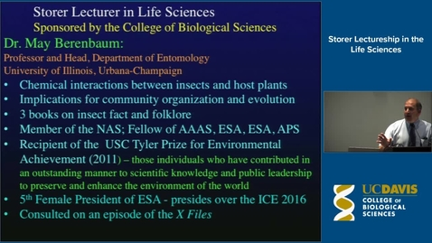 Thumbnail for entry Storer Lecture - Dr. May Berenbaum 5-21-14