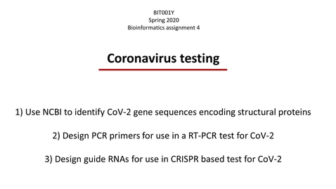 Thumbnail for entry Assignment 4 Coronavirus testing
