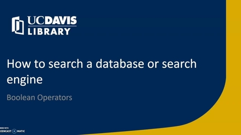 Thumbnail for entry How to Search a database or search engine
