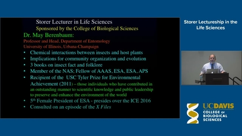 Thumbnail for entry Storer Lecture - Dr. May Berenbaum 5-20-14
