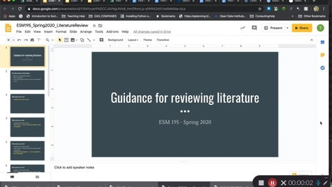 Thumbnail for entry ESM195_Spring2020_ReviewingLiterature