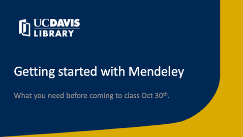 Thumbnail for entry Getting started with Mendeley