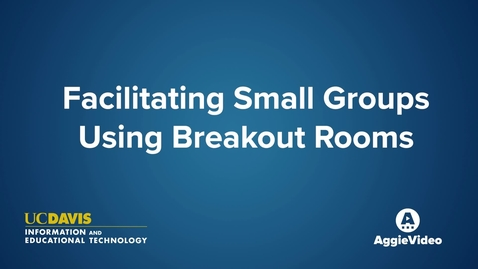 Thumbnail for entry Facilitating Small Groups Using Breakout Rooms