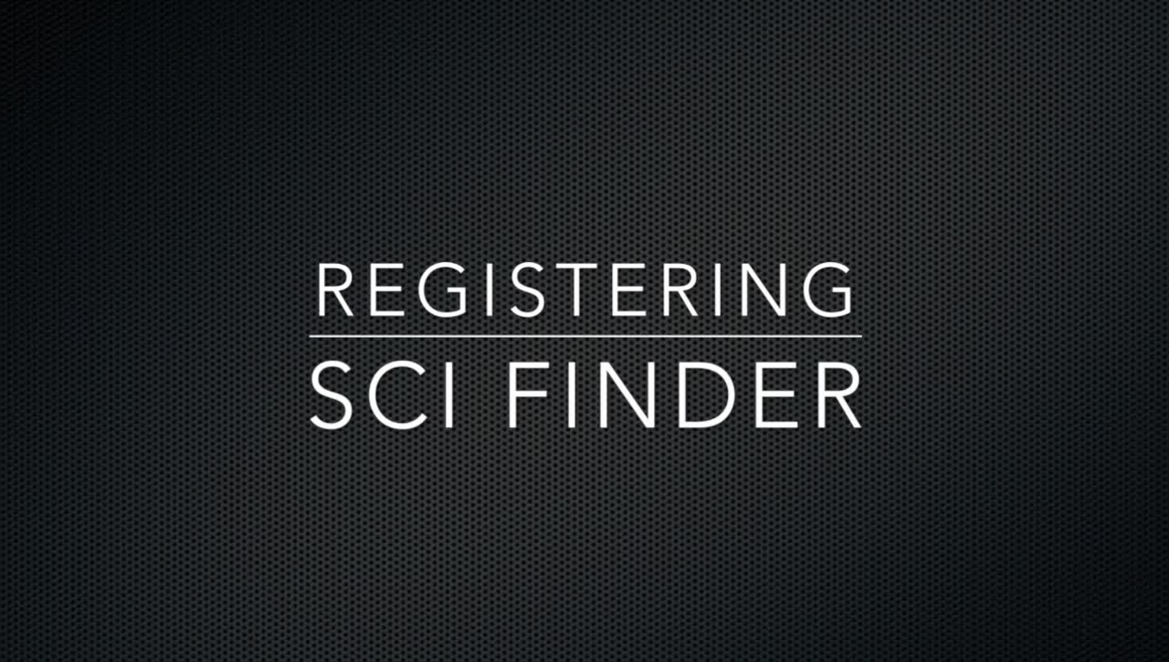 Registering for SciFinder