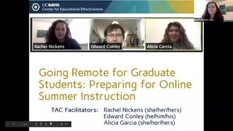 Thumbnail for entry 19May_CEE Going Remote for Grad Students: Preparing for Online Summer Instruction