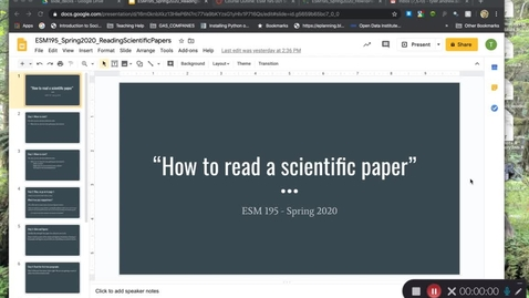 Thumbnail for entry ESM195_Spring2020_HowToReadAcademicPapers