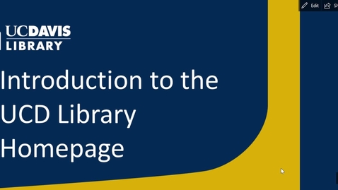 Thumbnail for entry Library Homepage Introduction