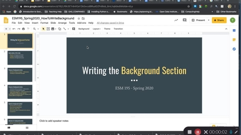 Thumbnail for entry ESM195_Spring2020_HowToWriteBackgroundSection