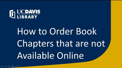 Thumbnail for entry How to Order Book Chapters that are Not Available Online