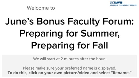 Thumbnail for entry Bonus Faculty Forum - June 5, 2020