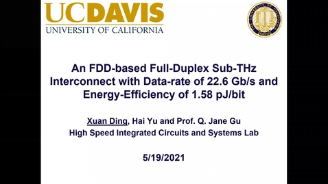 Thumbnail for entry An FDD-based Full-Duplex Sub-THz Interconnect with Data-rate of 22.6 Gb/s and Energy-Efficiency of 1.58pJ/bit