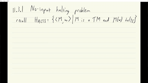 Thumbnail for entry ECS 120 9a:3 no-input halting problem is undecidable